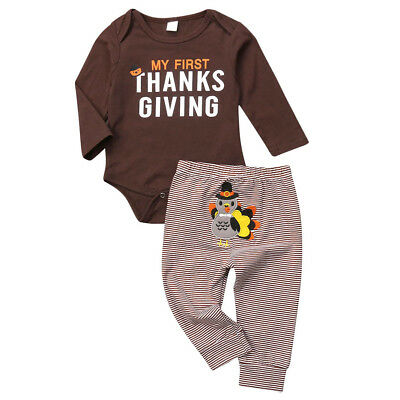 USA Thanksgiving Clothes Infant Baby Boy Romper Bodysuit -Pants Outfit Costumes