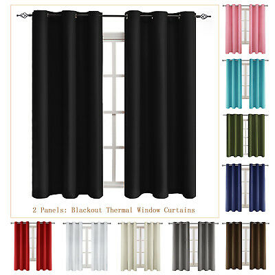 Blackout Window Curtains 2 Panels Thermal Insulated Drapes Grommet 63 84 95