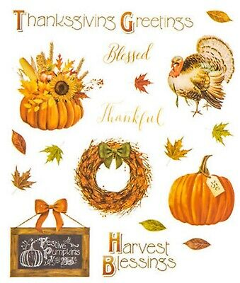 2 Sheets Thanksgiving Fall Stickers Papercraft Planner Supply Harvest Turkey