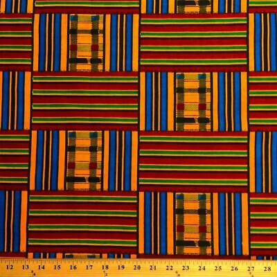 Kente African Print Fabric 100 Cotton 44 wide sold by the yard 19008-3
