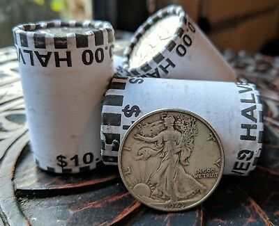 ONE UNSEARCHED HALF DOLLAR BANK ROLL - ONE 90 SILVER WALKING LIBERTY COIN