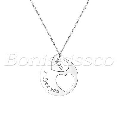 Womens Stainless Steel I Love You Mom Heart Pendant Necklace Mothers Day Gift