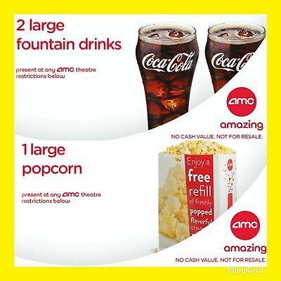 Instant E-Delivery AMC Theater 2 Large Drinks - 1 Large Popcorn Exp 123120