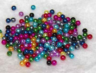 500Pcs 4MM Quality  Acrylic Round Pearl DIY Jewelry Spacer Loose Beads