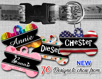 Personalized Pet Name ID Tags for Dog Custom Double Sided Cool BONE Shape LOOK