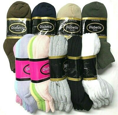 3 6 12  Pair Non-Binding Top DIABETIC Colors Ankle Sock Size10-13 - 9-11 USA-