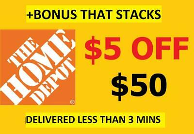 TWO 2X HOME DEPOT 5 off50 Coupons-InStore Online-EPIC Delivery