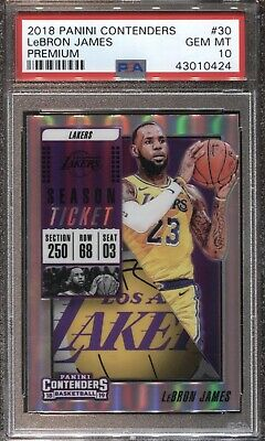 LEBRON JAMES PSA 10 2018 PANINI CONTENDERS 30 PREMIUM OPTIC LAKERS GEM MINT