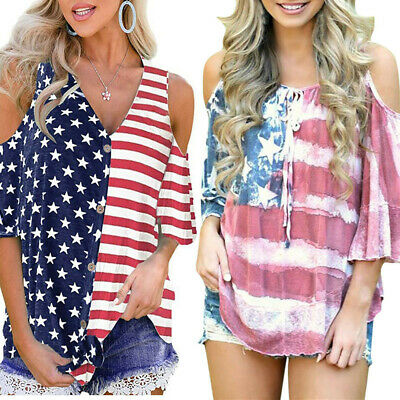 Women American Flag Loose 4th Of July Off Shouder T-shirt Tops Blouse Plus Size