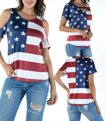 USA Womens American Flag Shirt 4th of July Patriotic Tank Top T Shirt Blouse