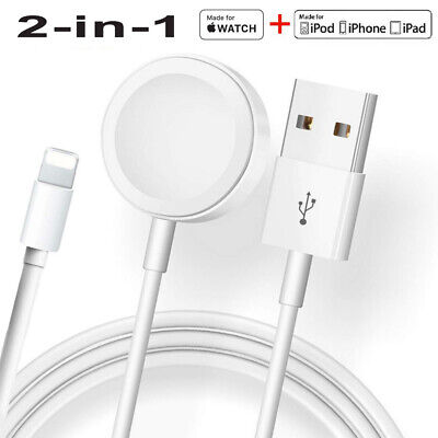 2-in-1 Magnetic Charger USB Cable For Apple Watch SE654321 iPhone 1187X