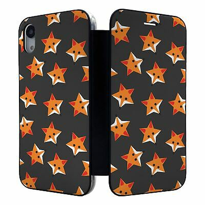 IPHONE FULL FLIP WALLET CASE COVER FOXES STARS GREY PATTERN S974