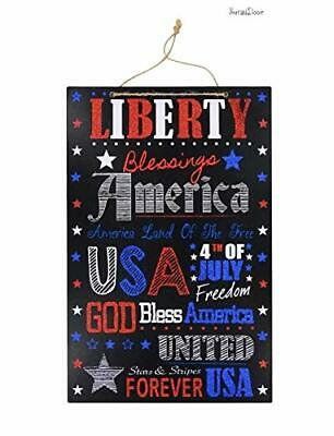 4th of July Glittery Liberty Hanging Sign Wall Decor