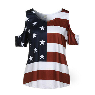 Womens American Flag Shirt 4th of July Patriotic Tank Top T Shirt Blouse Size S