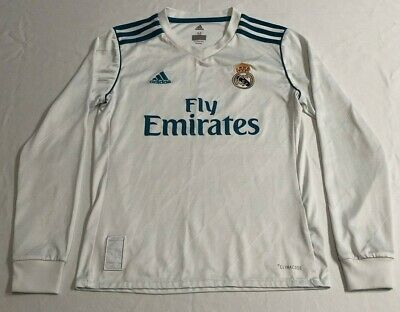 REAL MADRID Adidas Jersey Youth Medium Long Sleeve Embroidered Patches ClimaCool