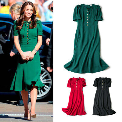 Kate Middleton Emerald Bow Embellished Cady Fishtail Midi Dress Royal Ascot