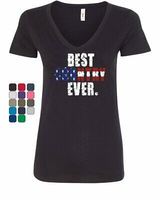 Best Country Ever Womens V-Neck T-Shirt 4th of July American Flag Patriotic