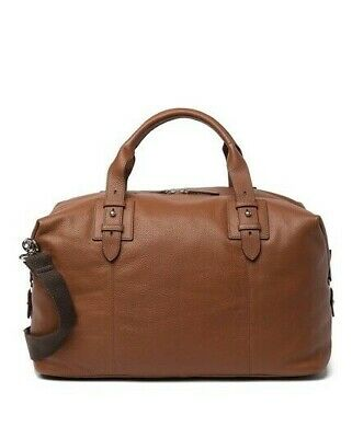 NEW NWT Cole Haan Premium Tan Leather Brass Duffle Weekend Travel Bag 498