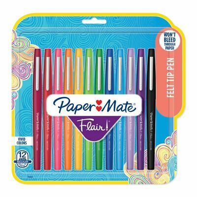 Paper Mate Flair Porous-Point Pens Medium Point Assorted 12-Pack