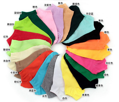 Women Ladies Low Cut Cotton Socks Boat Ankle Socks Mixed Color LOT 20PairsPack