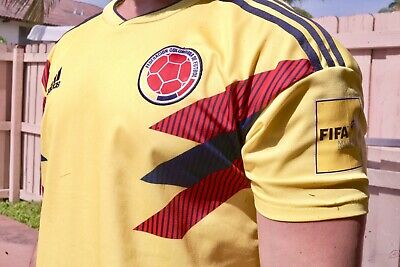 adidas Colombia Men's Jersey Football Soccer FIFA World Cup 2018 Yellow Sz Large