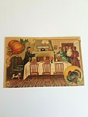 Antique 1909 Thanksgiving POSTCARD Postmarked  WELCOME THANKSGIVING DAY NJ