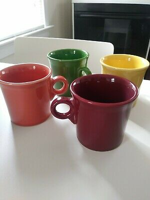 Set of 4 FIESTA WARE HLC USA Coffee Tea Mugs RING Handle Multi Color