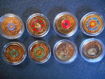 Police remembrance repatriation anzac coloured 2 coins set uncirculated