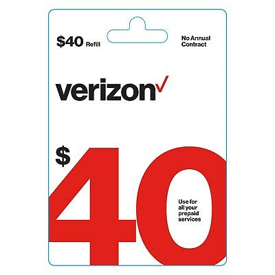 Verizon Wireless 40 Verizon Prepaid  40 Refill Card Digital Code