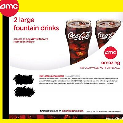Instant Delivery AMC Theater 2 Large Drinks  Exp 6302020
