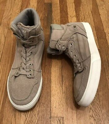 Supra Vaider FTWR CO Taupe Fabric High Tops Sneakers Shoes Men's US 13