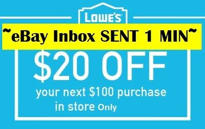 Three 3x Lowes 20 OFF 100Coupons-Instore Only -FAST-SENT-