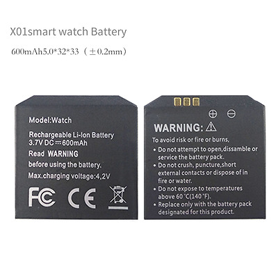 Smart watch battery600mAh for X01X01SX86X89 Android smart watch phone battery