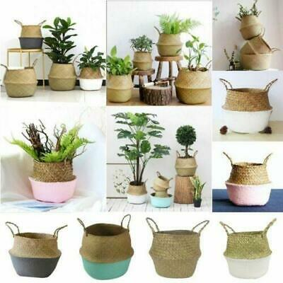 Seagrass Belly Basket Flowers Plant Pots Woven Laundry Storage Holder For Home