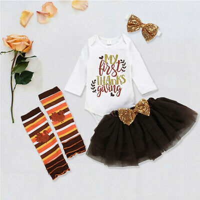 US My First Thanksgiving Baby Girl Romper Skirt Leg Warmers 5Pcs Outfits Clothes