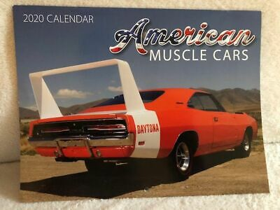 AMERICAN MUSCLE CARS 2020 WALL CALENDAR 11 x 17 WHEN OPENED FORD CHEVY MOPAR