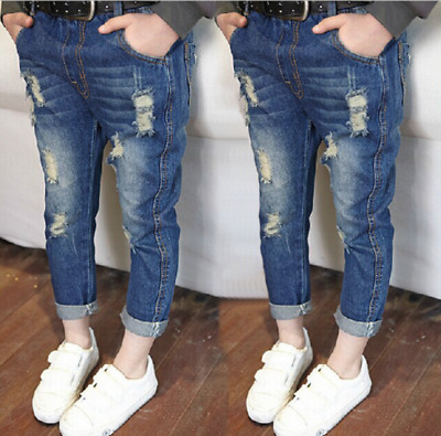 Toddler Kids Denim Skinny Jeans Stretchy Pants Baby Girls Boys Ripped Trousers