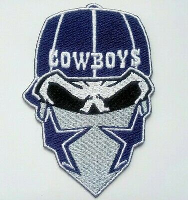 Dallas Cowboys Embroidered Skull Mask 3 58 Iron On Patch