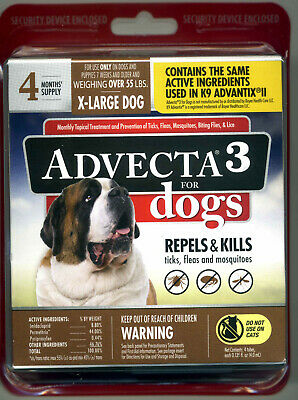 Advecta 3 Flea and Tick Topical Treatment for X-Large dogs over 55 lbs 4 mo-Sup