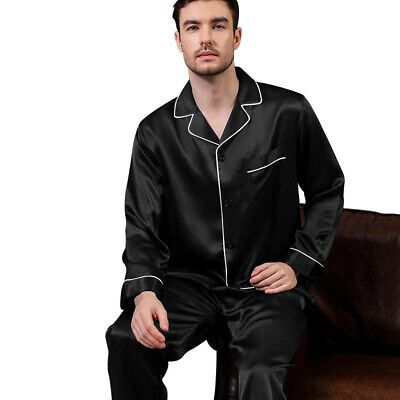 Mens Silk Satin  Pajamas - PJ Set  Top and Bottom - Black White Piping