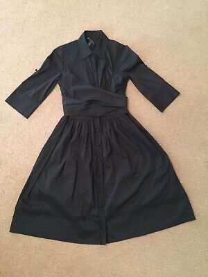Robert Rodriguez black 2XS shirt Dress Button Down Kate Middleton Tie Wrap Bow