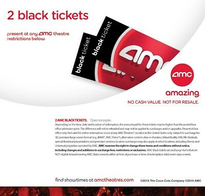 AMC 2 x Black Movie Tickets - Instant Delivery