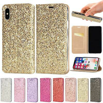 for iPhone Xs Max 8 7 Diamond Glitter Bling Leather Flip Card Wallet Case Cover