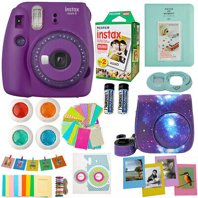 Fujifilm Instax Mini 9 Instant Camera Purple  - 20 Film - Deluxe Full Bundle