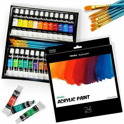 Ohuhu 24 Tube Artists Acrylic Paint Set -6 Brush Great for Canvas Panels Boards