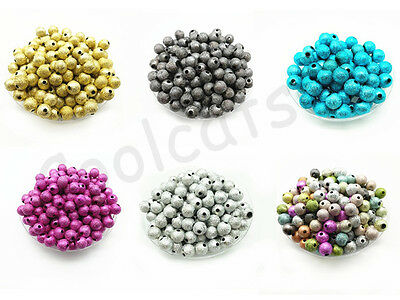 4mm 6mm 8mm 10mm Metallic Glitter Acrylic Stardust Round Spacer Loose Beads