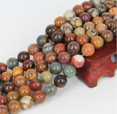 4mm 6mm 8mm 10mm 12mm Natural Gemstone Picasso Jasper Stone Spacer Loose Beads