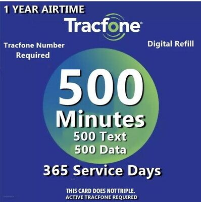 TracFone 1 Year Service Plan - 365 Days - 500 Minutes 500 Text 500 Data