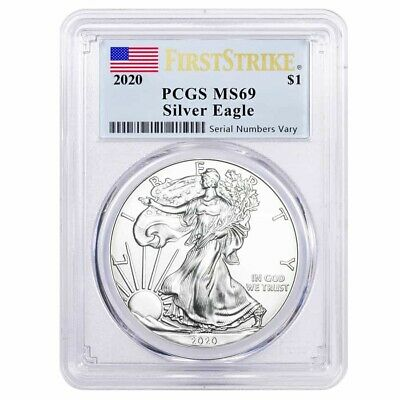 2020 1 oz Silver American Eagle 1 Coin PCGS MS 69 First Strike Flag Label