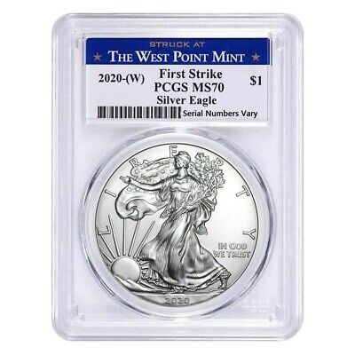 2020 W 1 oz Silver American Eagle 1 Coin PCGS MS 70 First Strike West Point